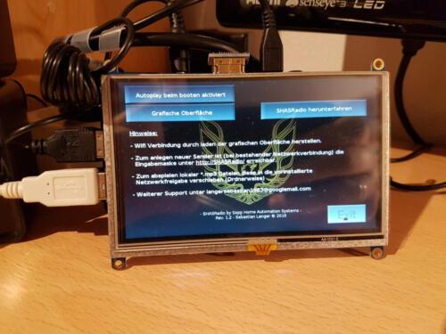 """SHAS-Radio 2 - Menü mit Einstellungen des 5,0"""" Display"""