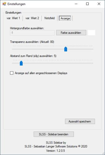 SLSS Sidebar - Anzeigeeinstellungen