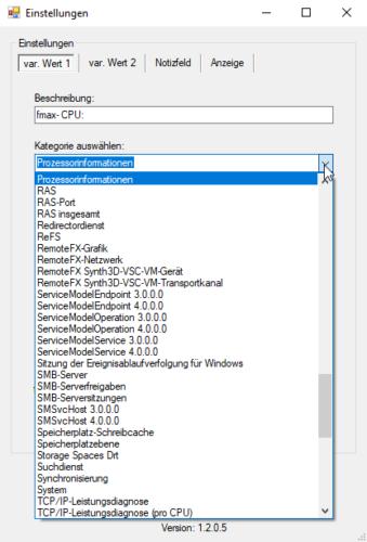 SLSS Sidebar - Auswahl der von Windows bereitgestellten System-Ressourcen