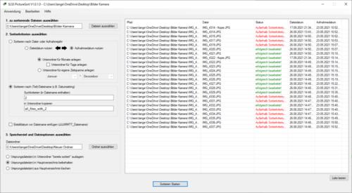 SLSS PictureSort V1.0.1.0 - nach Sortiervorgang