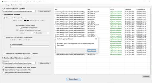 SLSS PictureSort V1.0.1.0 - Sortieren fertiggestellt