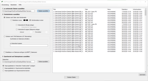 SLSS PictureSort V1.0.1.0 - geladene Bilddateien