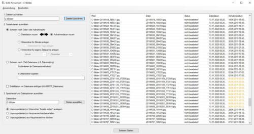 SLSS PictureSort - Für Sortierung geladene und analysierte Bilddateien