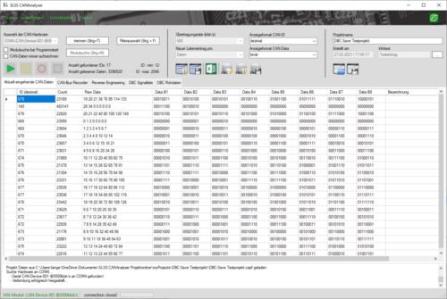 SLSS_CANAnalyser - Langzeitaufzeichnungstest mit >3 Millionen Werten